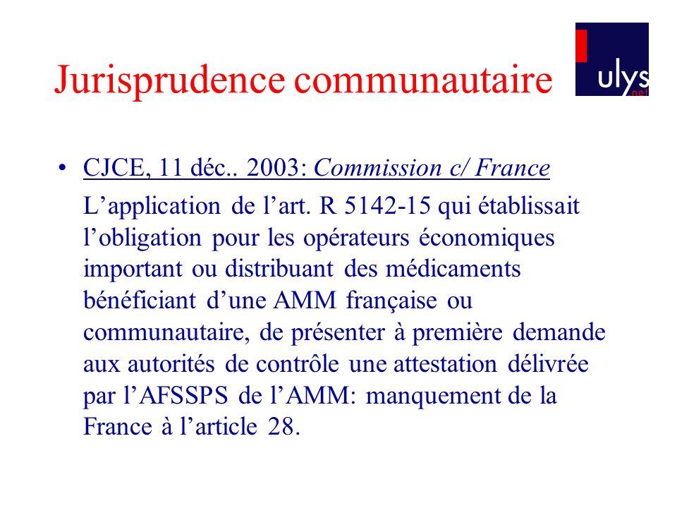Jurisprudence communautaire CJCE, 11 déc.. 2003: Commission c/ France Lapplication de lart. R 5142-15 qui établissait lobligation pour les opérateurs