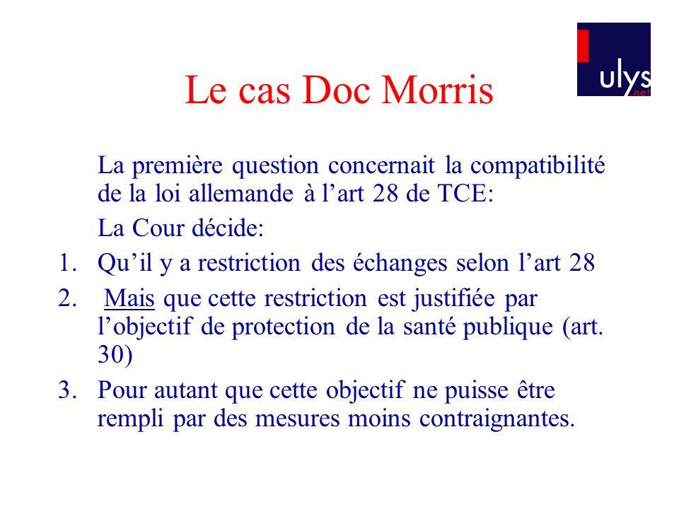 Le cas Doc Morris La première question concernait la compatibilité de la loi allemande à lart 28 de TCE: La Cour décide: 1.Quil y a restriction des éc