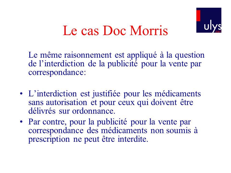 Le cas Doc Morris Le même raisonnement est appliqué à la question de linterdiction de la publicité pour la vente par correspondance: Linterdiction est