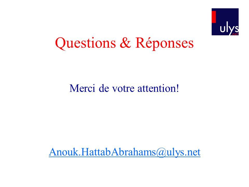 Questions & Réponses Merci de votre attention! Anouk.HattabAbrahams@ulys.net