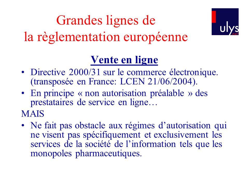 Grandes lignes de la règlementation européenne Vente en ligne Directive 2000/31 sur le commerce électronique. (transposée en France: LCEN 21/06/2004).