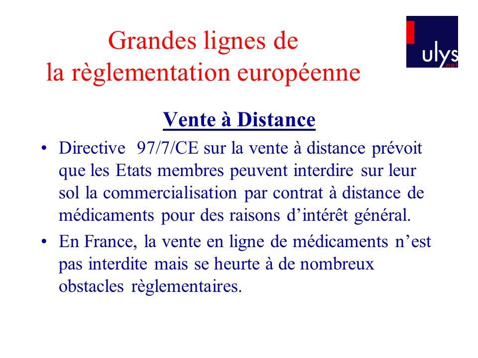 Grandes lignes de la règlementation européenne Vente à Distance Directive 97/7/CE sur la vente à distance prévoit que les Etats membres peuvent interd