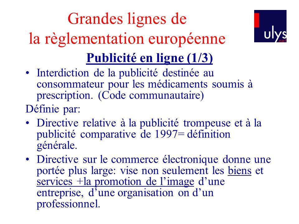 Grandes lignes de la règlementation européenne Publicité en ligne (1/3) Interdiction de la publicité destinée au consommateur pour les médicaments sou