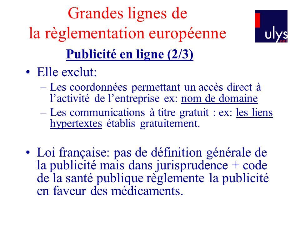 Grandes lignes de la règlementation européenne Publicité en ligne (2/3) Elle exclut: –Les coordonnées permettant un accès direct à lactivité de lentre