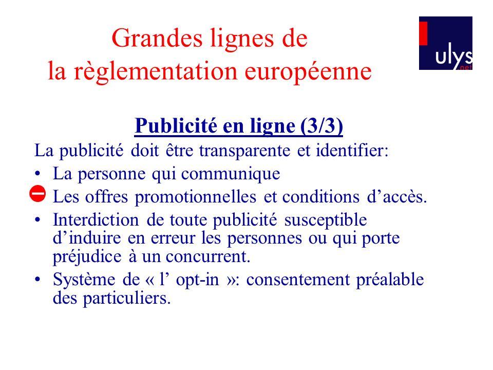 Grandes lignes de la règlementation européenne Publicité en ligne (3/3) La publicité doit être transparente et identifier: La personne qui communique