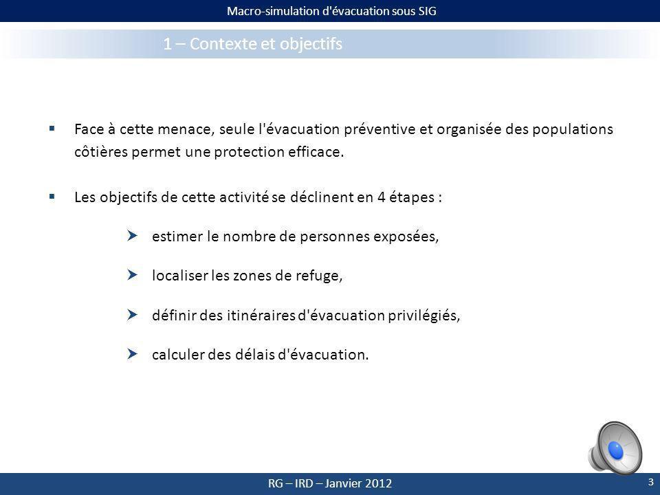Macro-simulation d évacuation sous SIG RG – IRD – Janvier 2012 1 – Contexte et objectifs D origine sismique, volcanique ou gravitaire, le risque de tsunami affecte l ensemble des côtes des Petites Antilles.