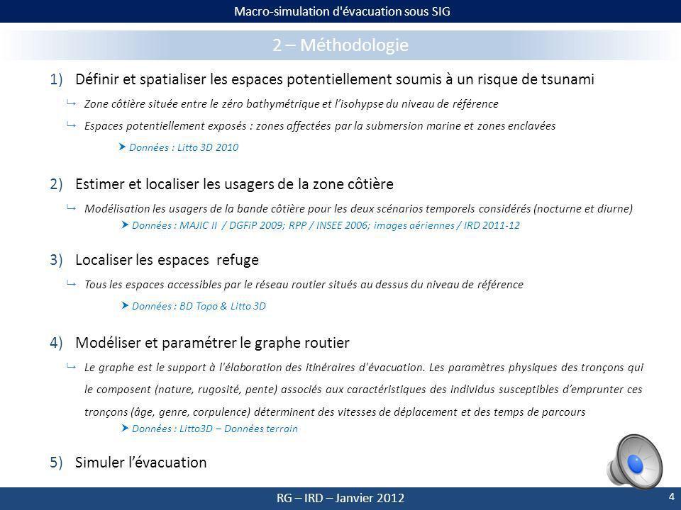 Macro-simulation d évacuation sous SIG RG – IRD – Janvier 2012 1 – Contexte et objectifs Face à cette menace, seule l évacuation préventive et organisée des populations côtières permet une protection efficace.