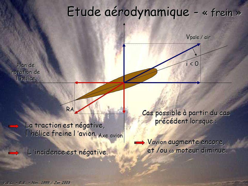 V.S.L. - E.S. - Nov. 1999 / Jan 2003 Plan de rotation de l hélice Axe avion Etude aérodynamique - « frein » La traction est négative, l hélice freine