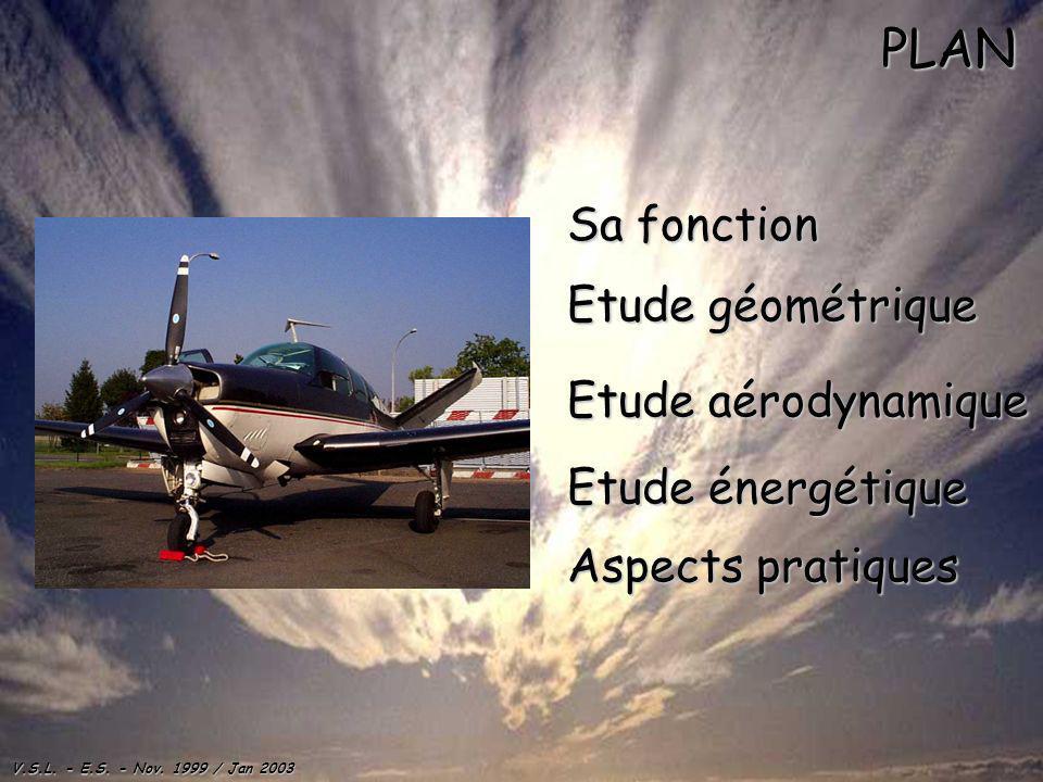 V.S.L. - E.S. - Nov. 1999 / Jan 2003 PLAN Sa fonction Sa fonction Etude géométrique Etude géométrique Etude aérodynamique Etude aérodynamique Etude én