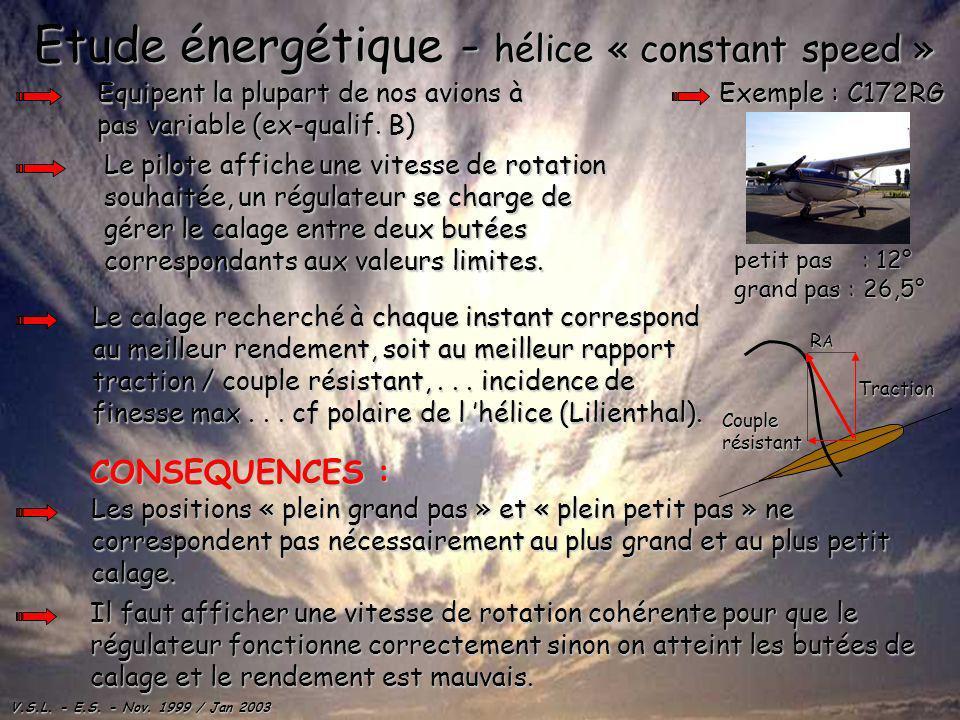 V.S.L. - E.S. - Nov. 1999 / Jan 2003 Etude énergétique - hélice « constant speed » Equipent la plupart de nos avions à pas variable (ex-qualif. B) Le
