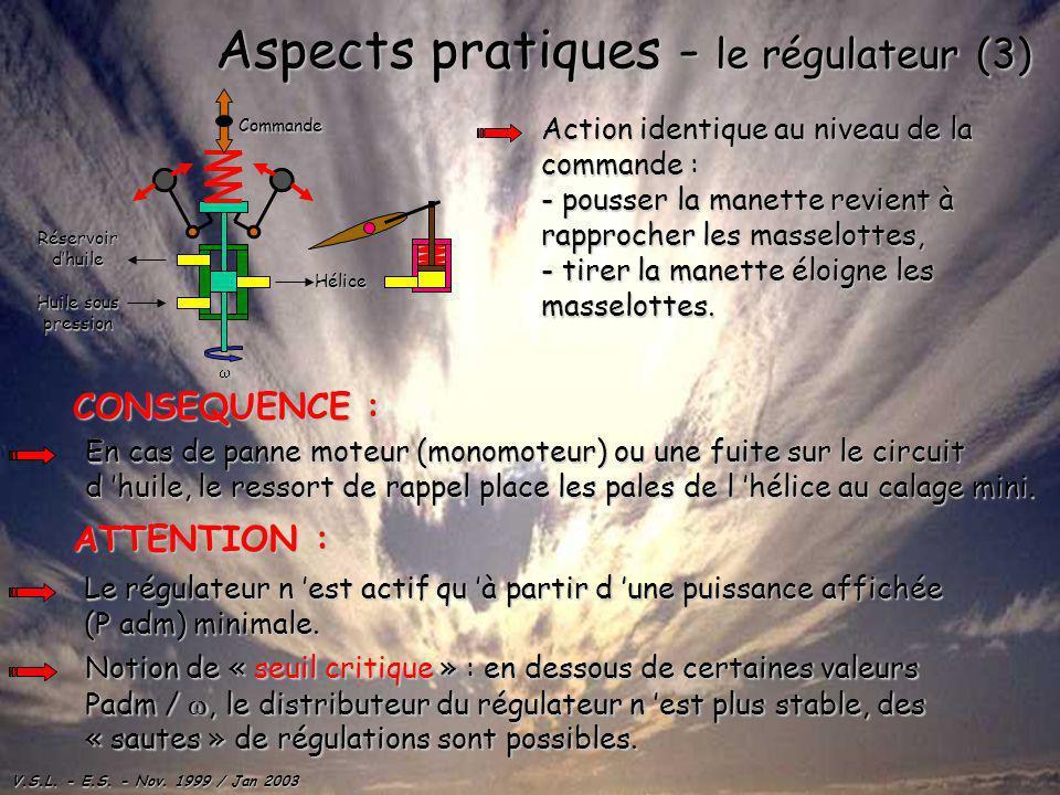V.S.L. - E.S. - Nov. 1999 / Jan 2003 Aspects pratiques - le régulateur (3) Hélice Huile sous pression Réservoirdhuile Commande Action identique au niv
