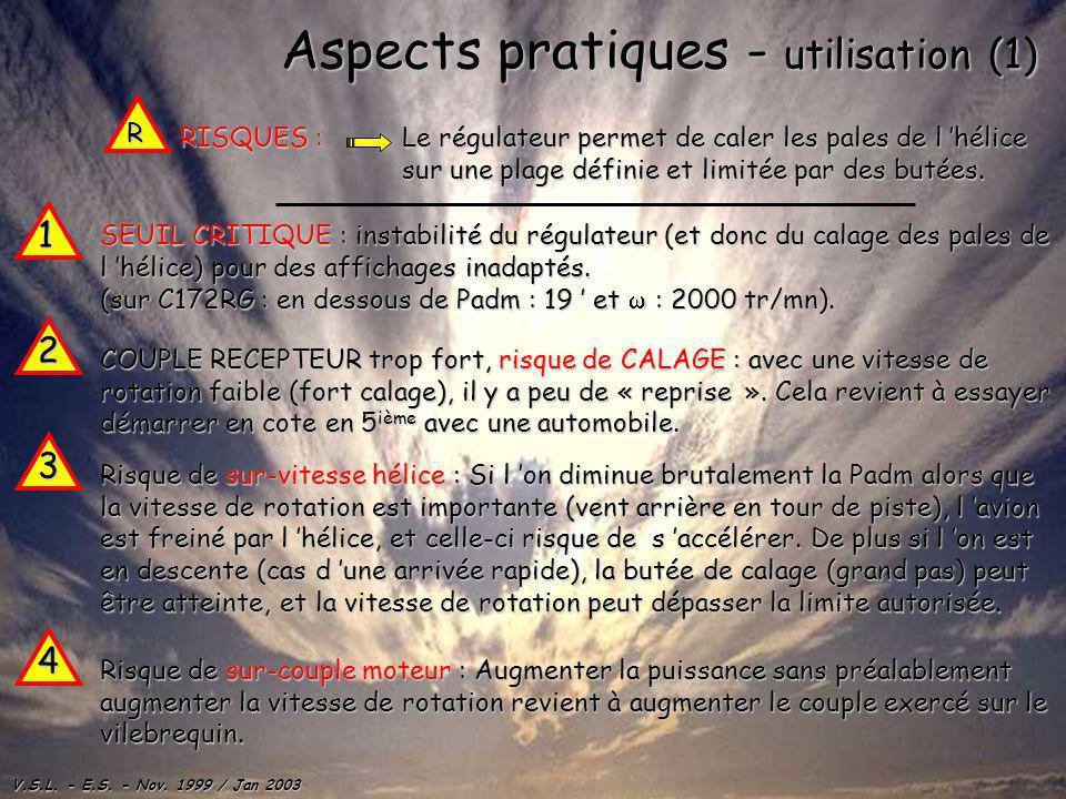 V.S.L. - E.S. - Nov. 1999 / Jan 2003 Aspects pratiques - utilisation (1) SEUIL CRITIQUE CRITIQUE : instabilité du régulateur (et donc du calage des pa