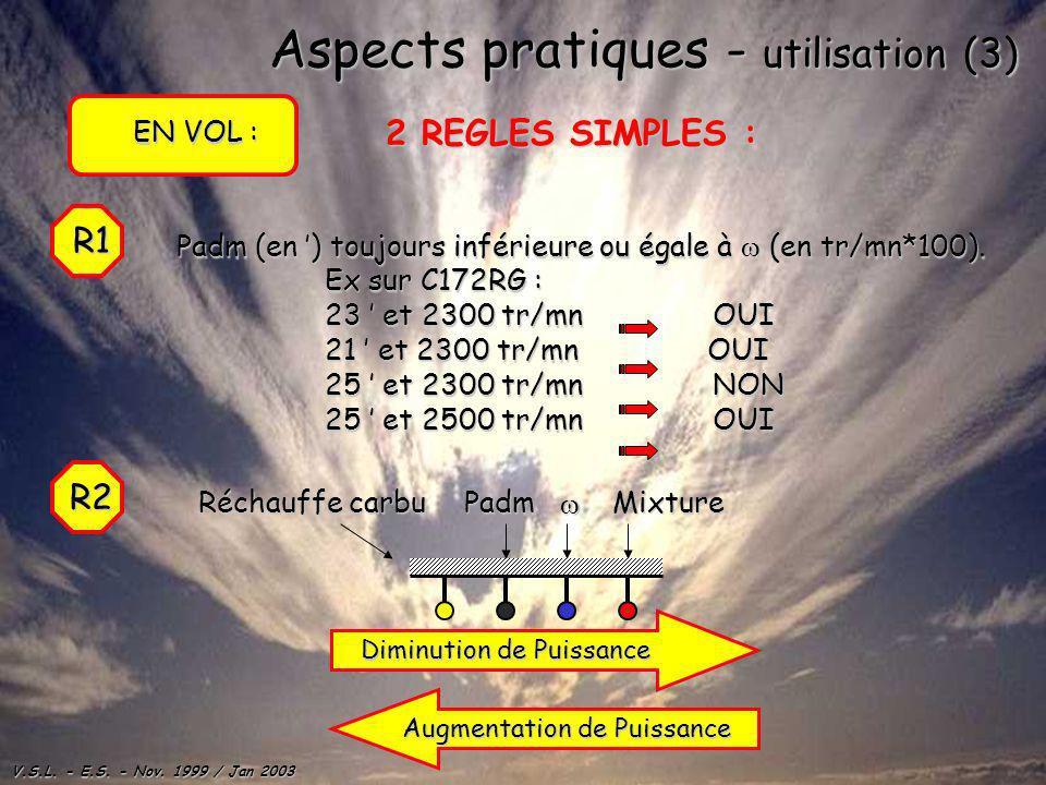 V.S.L. - E.S. - Nov. 1999 / Jan 2003 Aspects pratiques - utilisation (3) EN VOL : 2 REGLES SIMPLES : R1 Padm (en ) toujours inférieure ou égale à (en