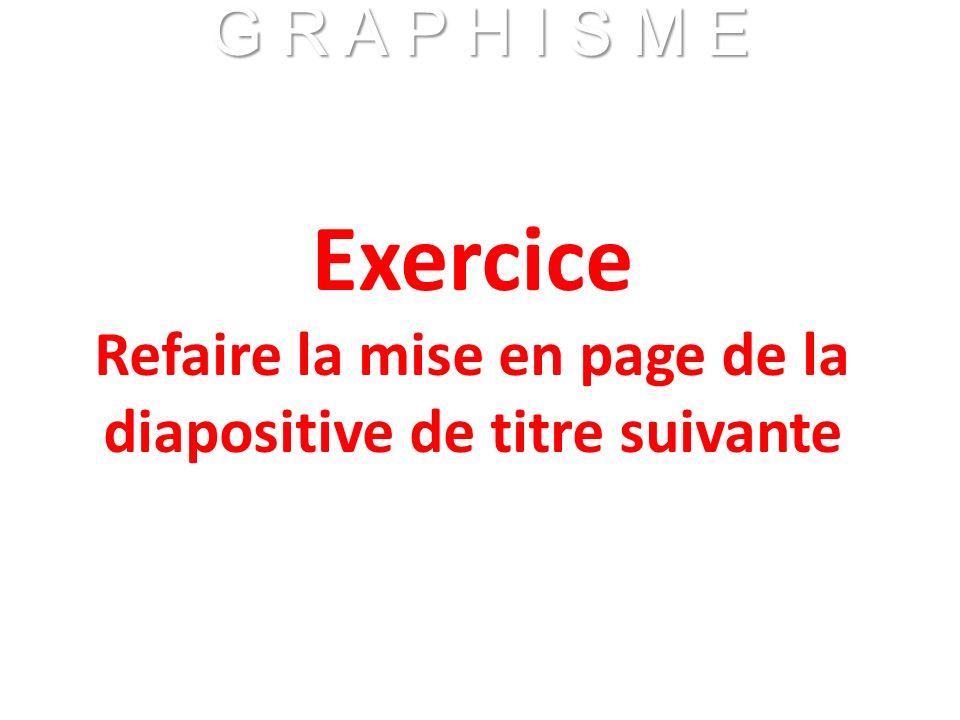 Exercice Refaire la mise en page de la diapositive de titre suivante G R A P H I S M E