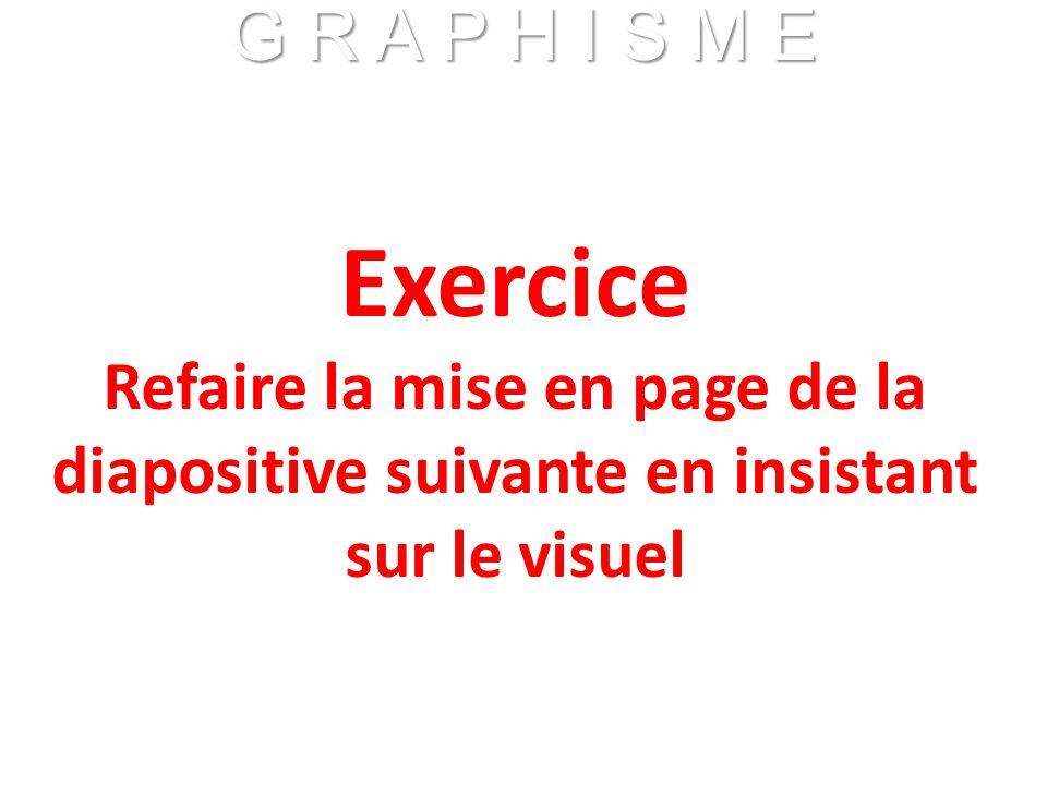 Exercice Refaire la mise en page de la diapositive suivante en insistant sur le visuel G R A P H I S M E