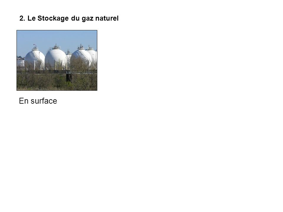 2. Le Stockage du gaz naturel En surface