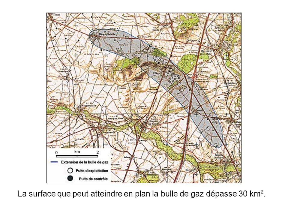La surface que peut atteindre en plan la bulle de gaz dépasse 30 km².