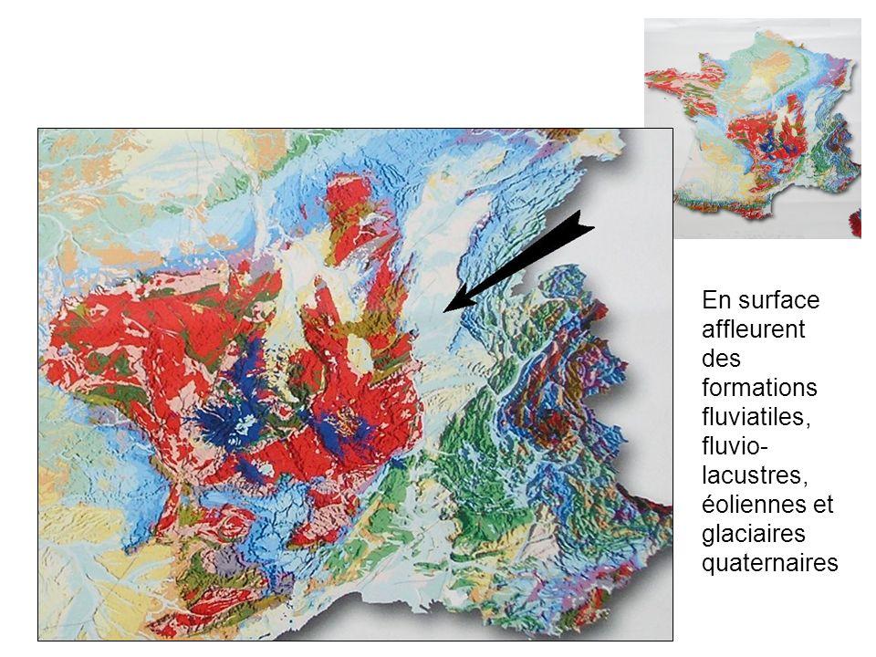 En surface affleurent des formations fluviatiles, fluvio- lacustres, éoliennes et glaciaires quaternaires