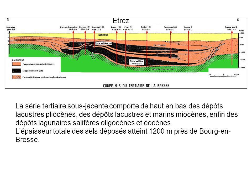 La série tertiaire sous-jacente comporte de haut en bas des dépôts lacustres pliocènes, des dépôts lacustres et marins miocènes, enfin des dépôts lagunaires salifères oligocènes et éocènes.