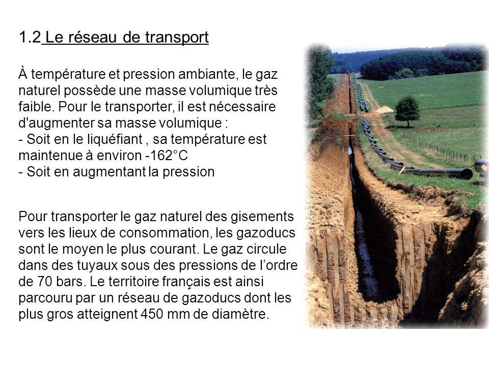 1.2 Le réseau de transport À température et pression ambiante, le gaz naturel possède une masse volumique très faible. Pour le transporter, il est néc
