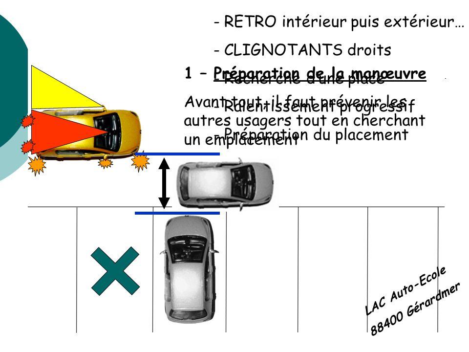 LAC Auto-Ecole 88400 Gérardmer 1 – Préparation de la manœuvre Avant tout, il faut prévenir les autres usagers tout en cherchant un emplacement - RETRO
