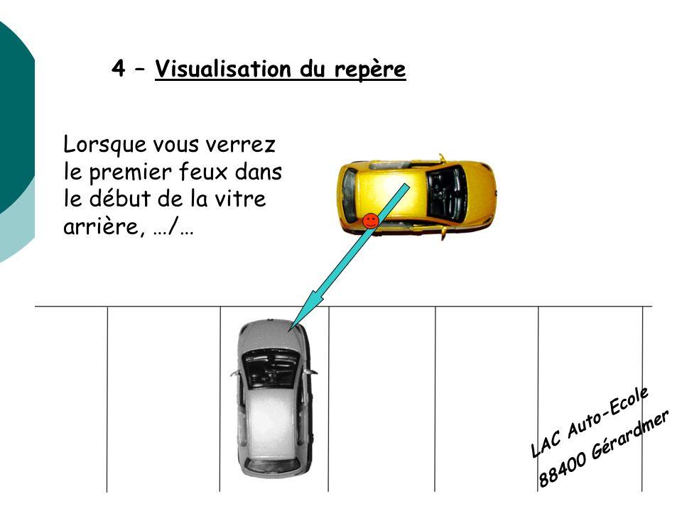 4 – Visualisation du repère Lorsque vous verrez le premier feux dans le début de la vitre arrière, …/… LAC Auto-Ecole 88400 Gérardmer