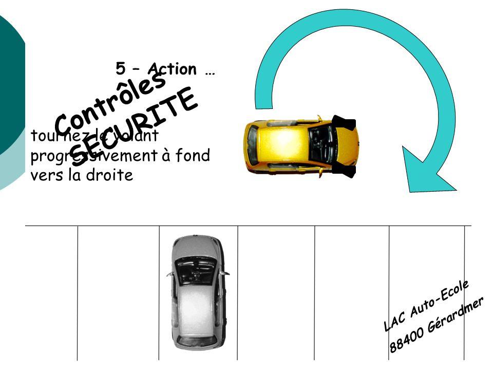 5 – Action … tournez le volant progressivement à fond vers la droite Contrôles SECURITE LAC Auto-Ecole 88400 Gérardmer