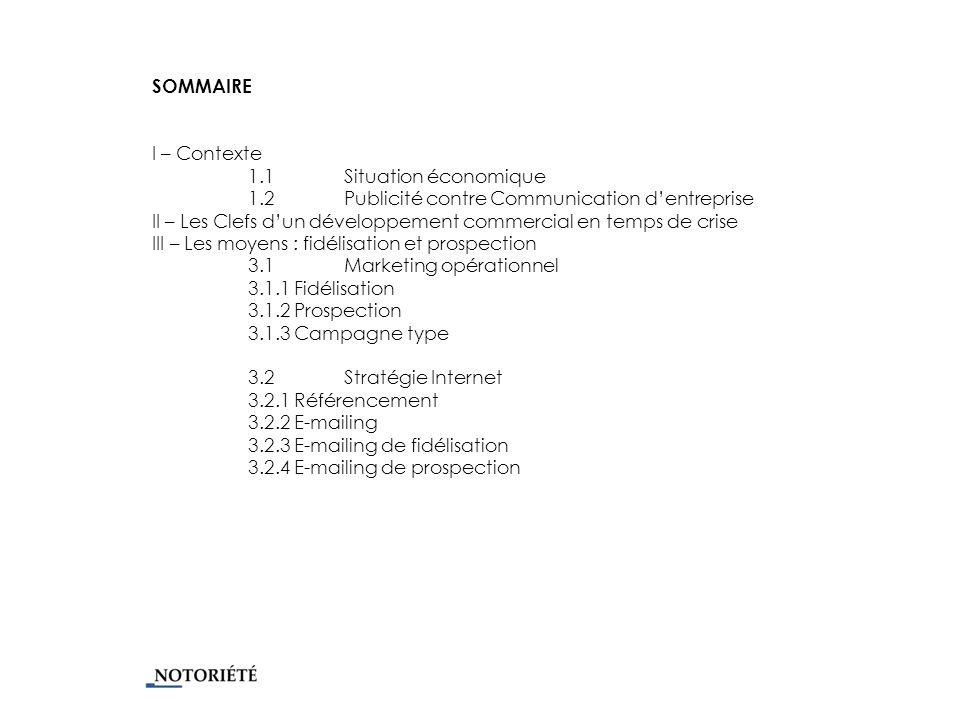 SOMMAIRE I – Contexte 1.1 Situation économique 1.2 Publicité contre Communication dentreprise II – Les Clefs dun développement commercial en temps de crise III – Les moyens : fidélisation et prospection 3.1Marketing opérationnel 3.1.1 Fidélisation 3.1.2 Prospection 3.1.3 Campagne type 3.2Stratégie Internet 3.2.1 Référencement 3.2.2 E-mailing 3.2.3 E-mailing de fidélisation 3.2.4 E-mailing de prospection