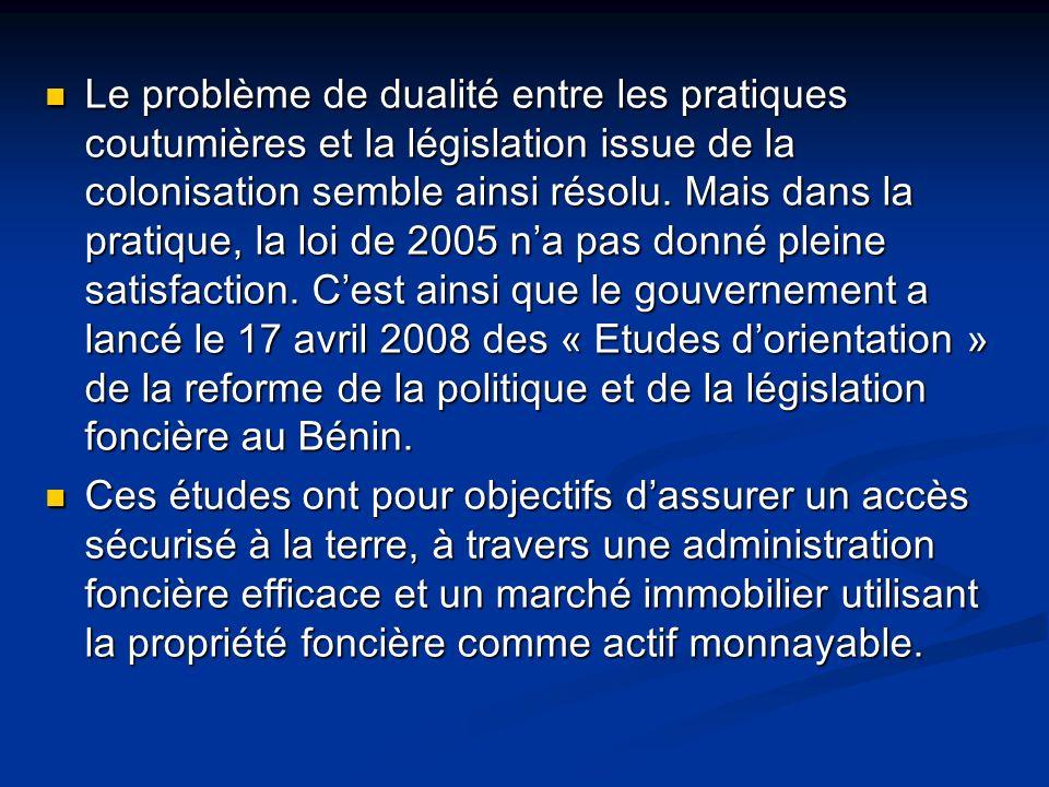 Le problème de dualité entre les pratiques coutumières et la législation issue de la colonisation semble ainsi résolu.
