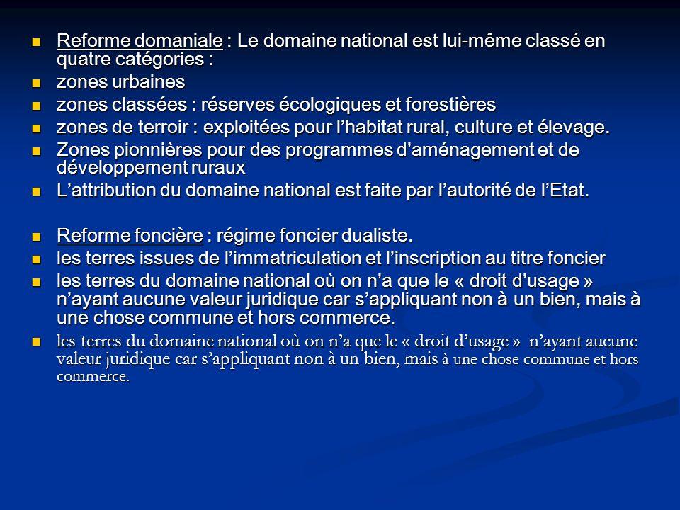 Reforme domaniale : Le domaine national est lui-même classé en quatre catégories : Reforme domaniale : Le domaine national est lui-même classé en quat