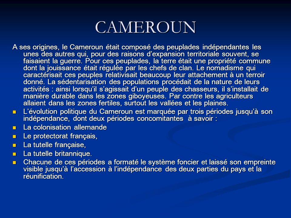 CAMEROUN A ses origines, le Cameroun était composé des peuplades indépendantes les unes des autres qui, pour des raisons dexpansion territoriale souvent, se faisaient la guerre.