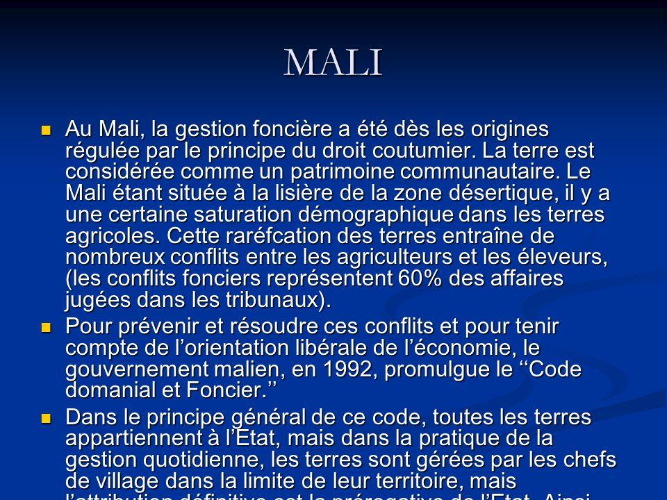 MALI Au Mali, la gestion foncière a été dès les origines régulée par le principe du droit coutumier. La terre est considérée comme un patrimoine commu