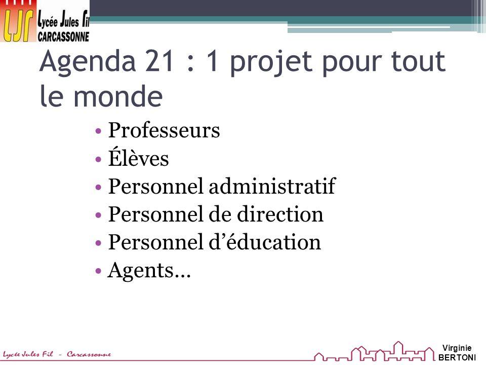 Agenda 21 : 1 projet pour tout le monde Professeurs Élèves Personnel administratif Personnel de direction Personnel déducation Agents… Virginie BERTONI