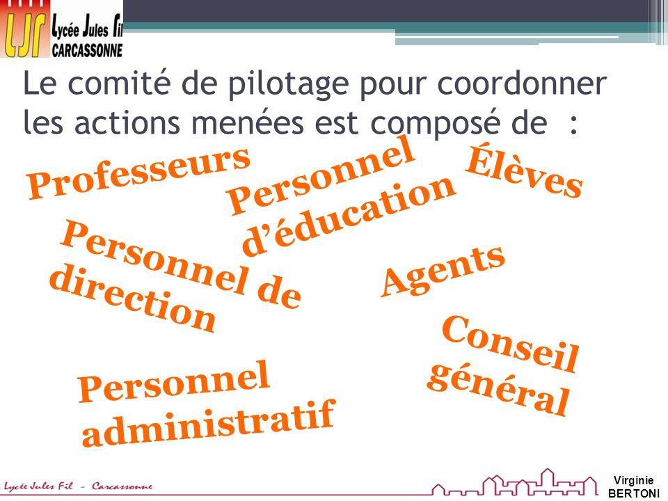 Le comité de pilotage pour coordonner les actions menées est composé de : Professeurs Agents Personnel déducation Personnel administratif Personnel de direction Élèves Conseil général Virginie BERTONI