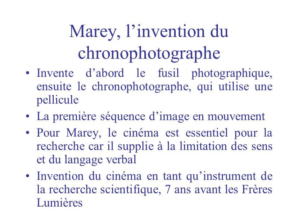 Marey, linvention du chronophotographe Invente dabord le fusil photographique, ensuite le chronophotographe, qui utilise une pellicule La première séq