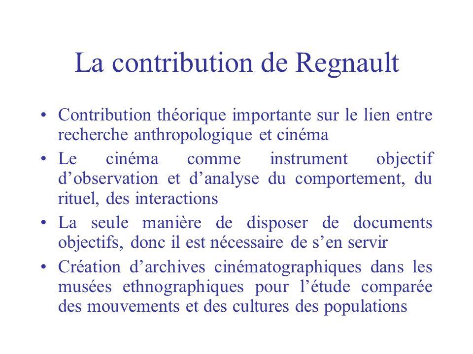La contribution de Regnault Contribution théorique importante sur le lien entre recherche anthropologique et cinéma Le cinéma comme instrument objecti