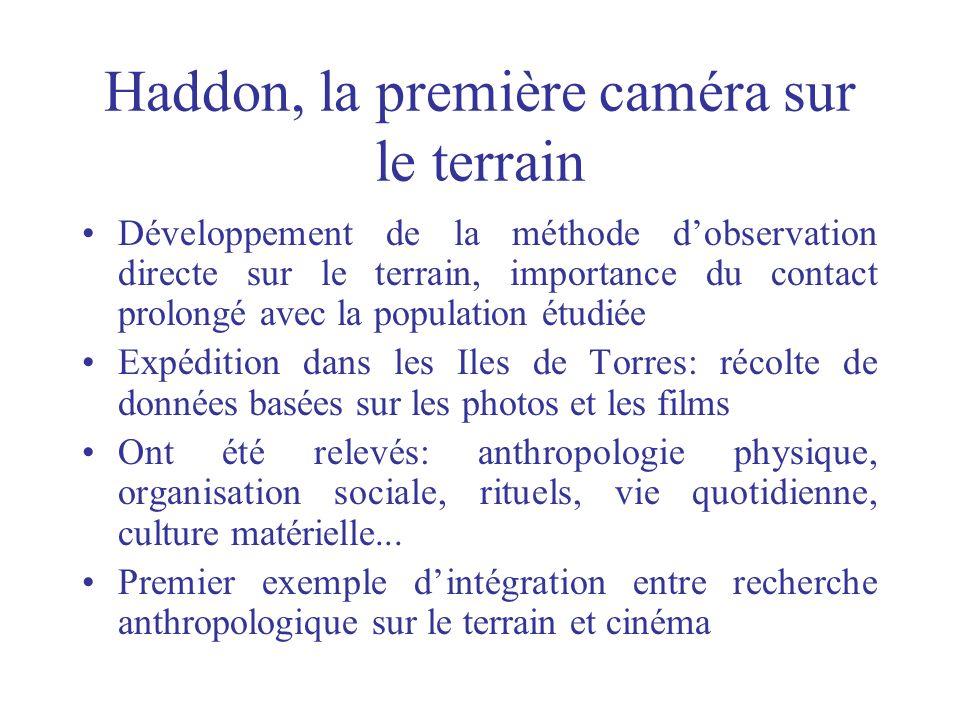 Haddon, la première caméra sur le terrain Développement de la méthode dobservation directe sur le terrain, importance du contact prolongé avec la popu