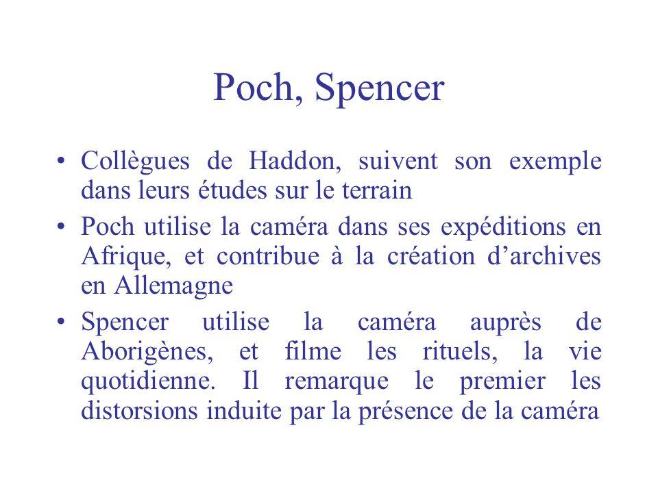 Poch, Spencer Collègues de Haddon, suivent son exemple dans leurs études sur le terrain Poch utilise la caméra dans ses expéditions en Afrique, et con