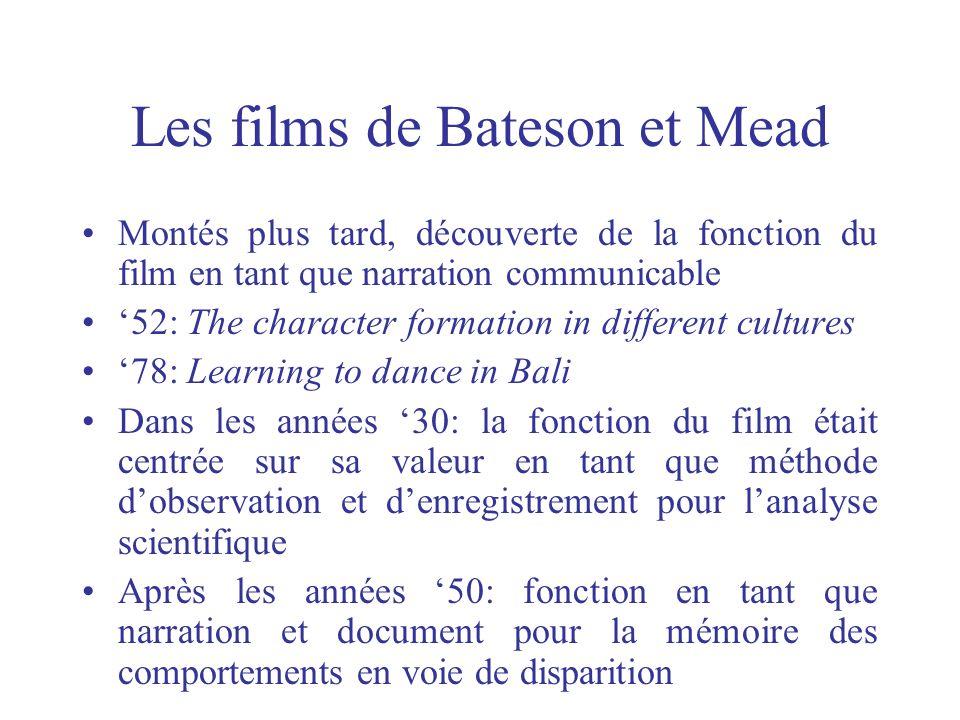 Les films de Bateson et Mead Montés plus tard, découverte de la fonction du film en tant que narration communicable 52: The character formation in dif