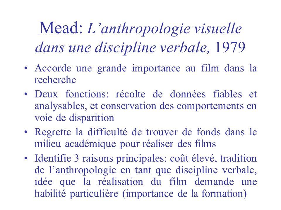 Mead: Lanthropologie visuelle dans une discipline verbale, 1979 Accorde une grande importance au film dans la recherche Deux fonctions: récolte de don