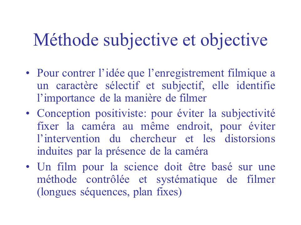 Méthode subjective et objective Pour contrer lidée que lenregistrement filmique a un caractère sélectif et subjectif, elle identifie limportance de la