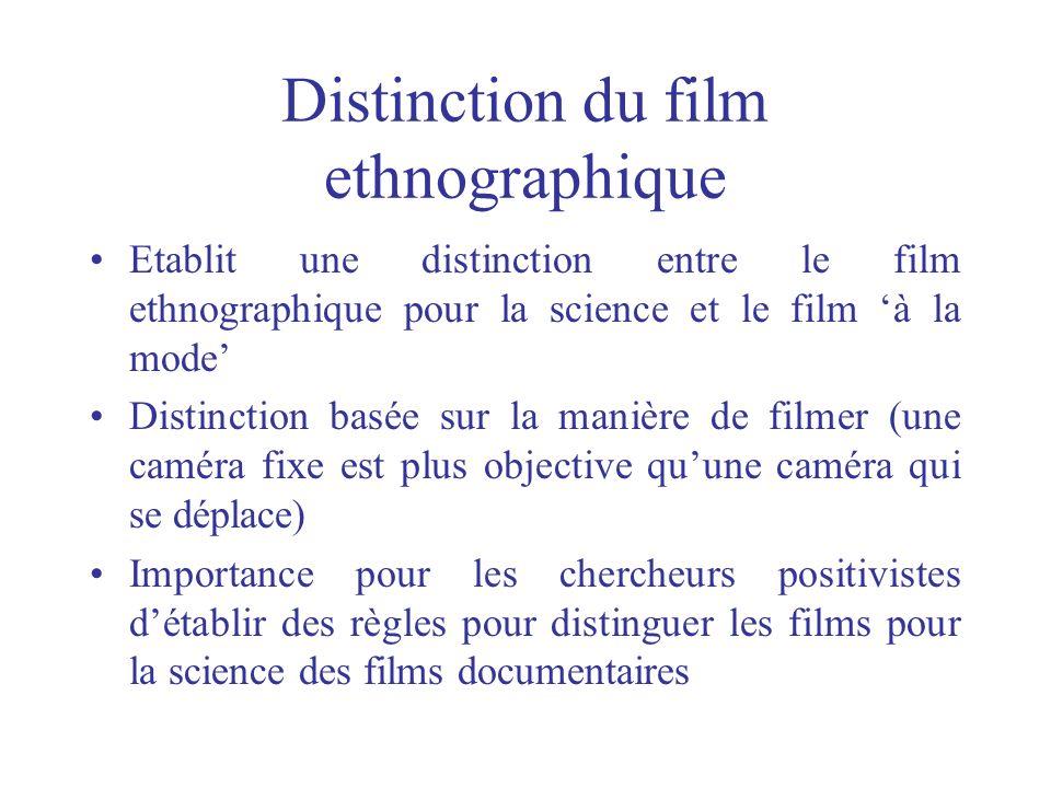 Distinction du film ethnographique Etablit une distinction entre le film ethnographique pour la science et le film à la mode Distinction basée sur la