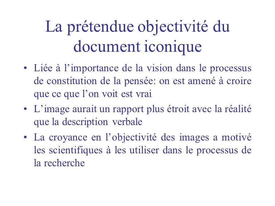 La prétendue objectivité du document iconique Liée à limportance de la vision dans le processus de constitution de la pensée: on est amené à croire qu