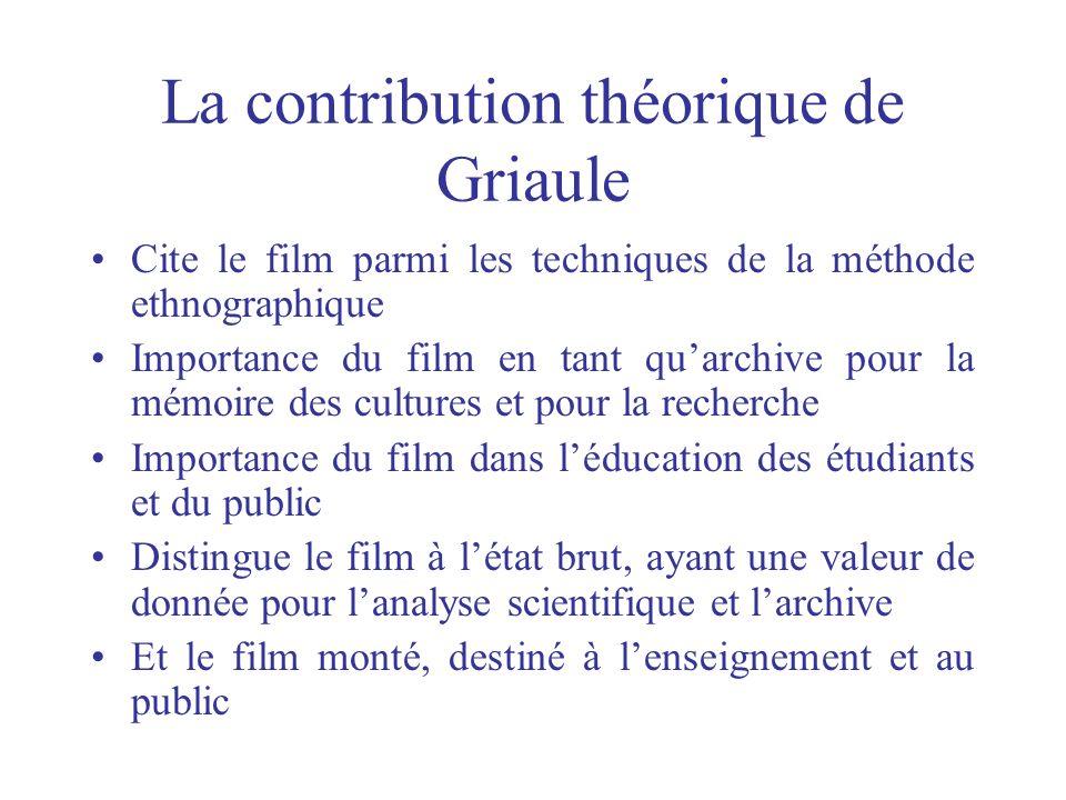 La contribution théorique de Griaule Cite le film parmi les techniques de la méthode ethnographique Importance du film en tant quarchive pour la mémoi