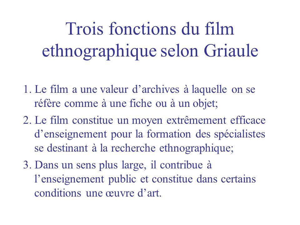 Trois fonctions du film ethnographique selon Griaule 1. Le film a une valeur darchives à laquelle on se réfère comme à une fiche ou à un objet; 2. Le