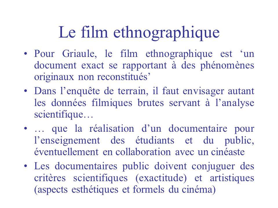 Le film ethnographique Pour Griaule, le film ethnographique est un document exact se rapportant à des phénomènes originaux non reconstitués Dans lenqu