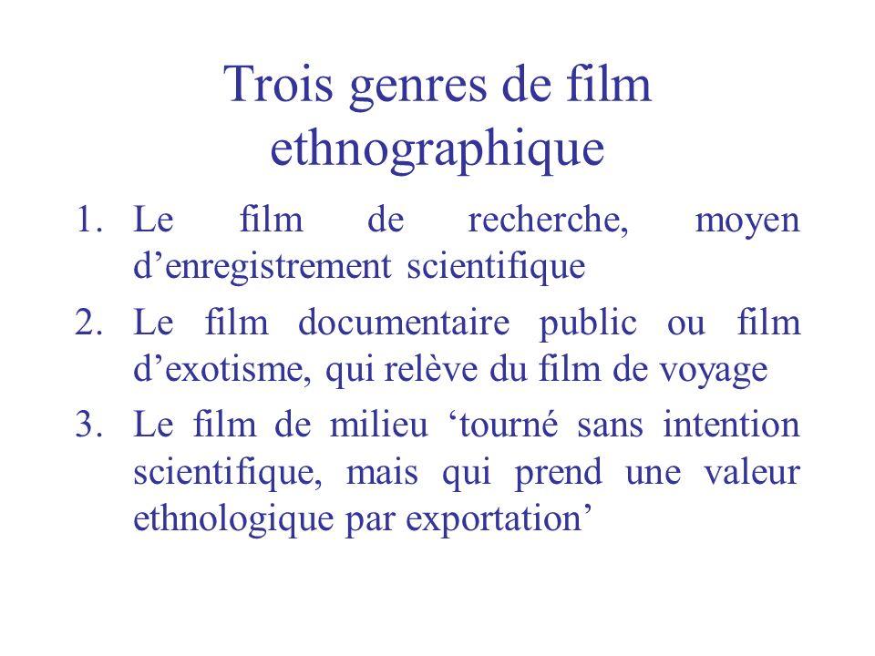 Trois genres de film ethnographique 1.Le film de recherche, moyen denregistrement scientifique 2.Le film documentaire public ou film dexotisme, qui re