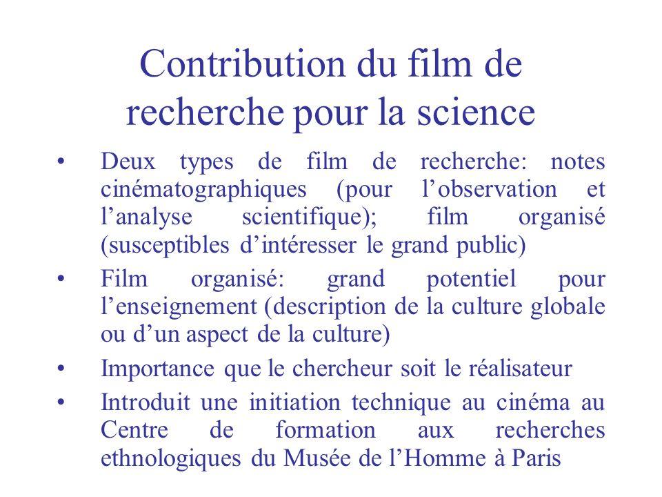 Contribution du film de recherche pour la science Deux types de film de recherche: notes cinématographiques (pour lobservation et lanalyse scientifiqu