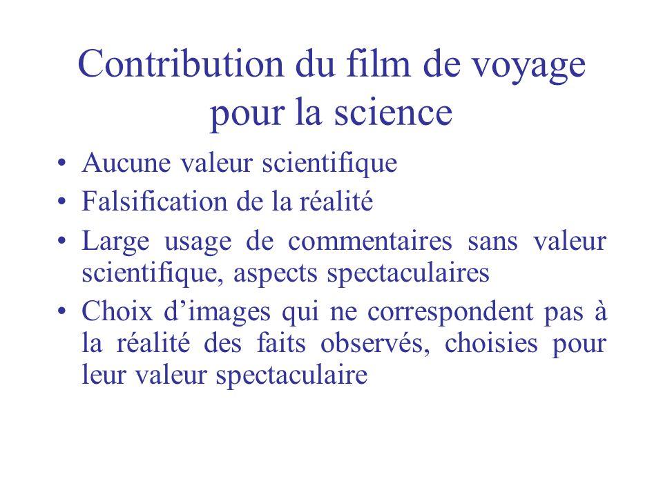 Contribution du film de voyage pour la science Aucune valeur scientifique Falsification de la réalité Large usage de commentaires sans valeur scientif