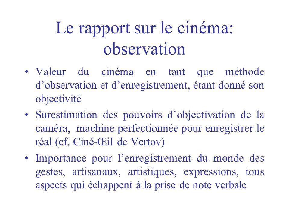 Le rapport sur le cinéma: observation Valeur du cinéma en tant que méthode dobservation et denregistrement, étant donné son objectivité Surestimation